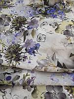 Льняная костюмная умягченная ткань с рисунком, фото 1
