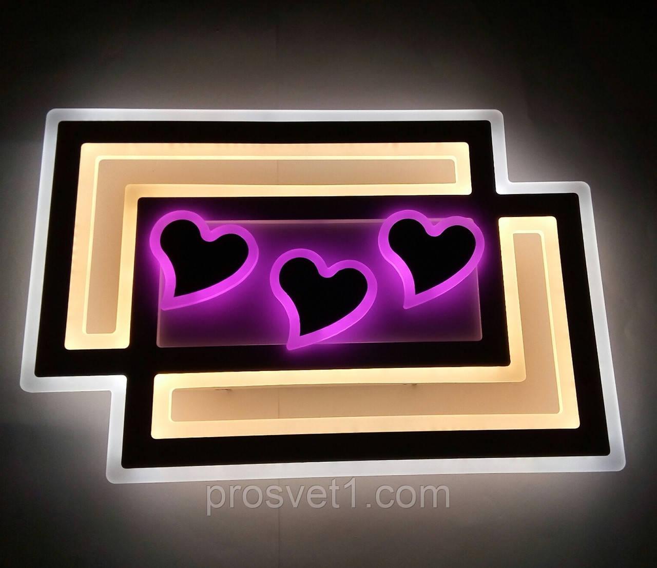 Люстра светодиодная детская сердечки 6001-2 WT+GRY 200W