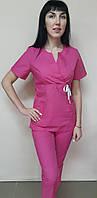 Жіночий медичний костюм Сакура бавовна короткий рукав, фото 1