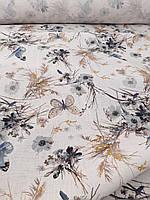 Льняная костюмная умягченная ткань с рисунком