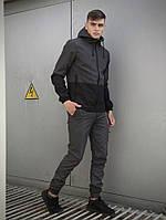 Костюм спортивный мужской демисезонный серо/черный Softshell Lite, комплект штаны и куртка