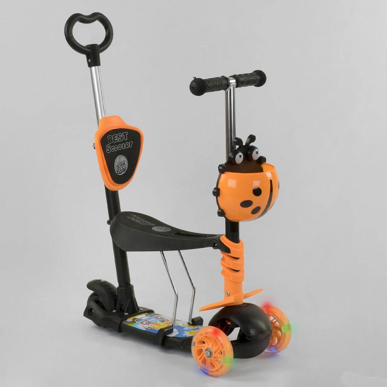 Самокат 5в1  Best Scooter 78266, чёрно-оранжевый, PU колеса, подсветка колёс