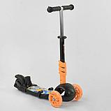 Самокат 5в1  Best Scooter 78266, чёрно-оранжевый, PU колеса, подсветка колёс, фото 3