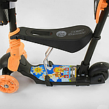Самокат 5в1  Best Scooter 78266, чёрно-оранжевый, PU колеса, подсветка колёс, фото 4