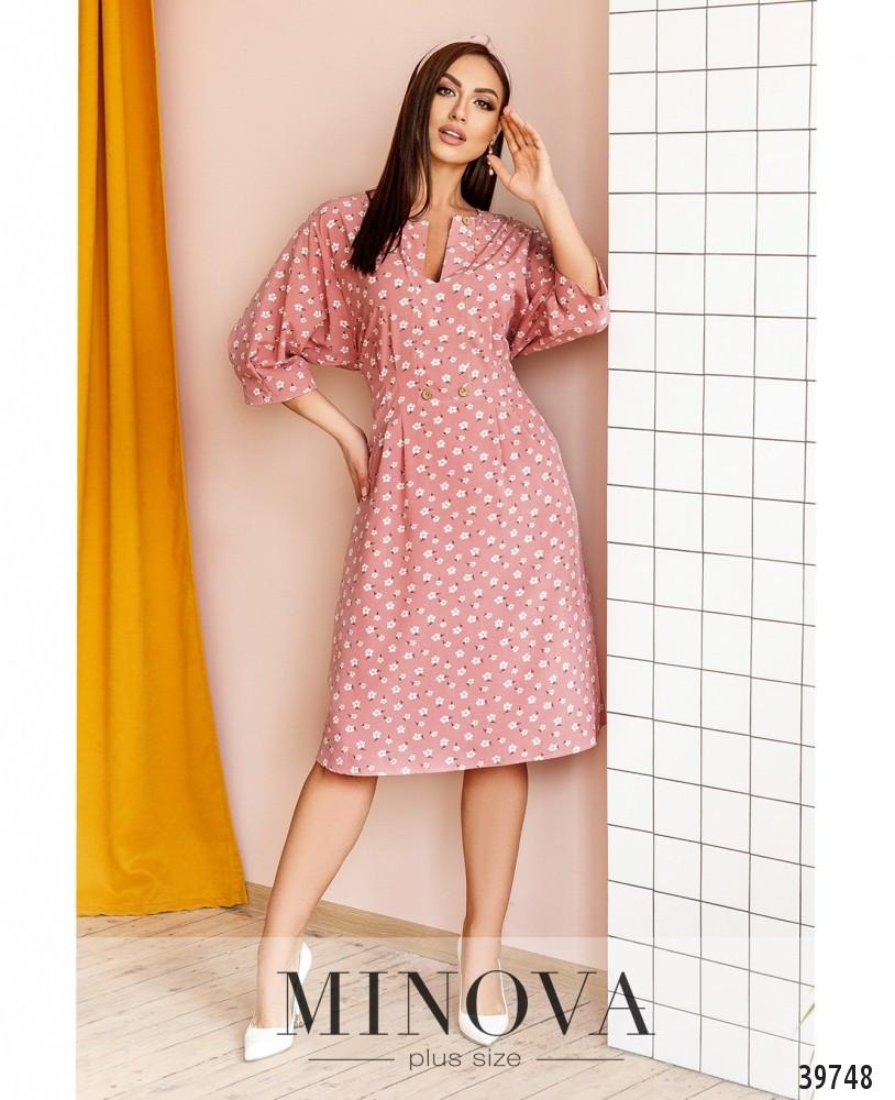 Чарівне жіноче плаття в принт, розмір від 48 до 58