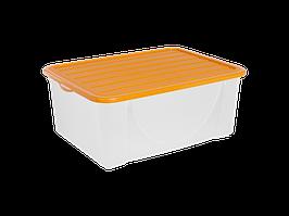 Емкость для хранения вещей с крышкой  9,6л. (светло-оранж.)