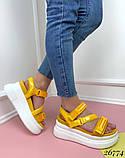 Женские босоножки Sport на липучках,платформа 8 см, белые, черные, красные, бежевые, желтые, фото 2