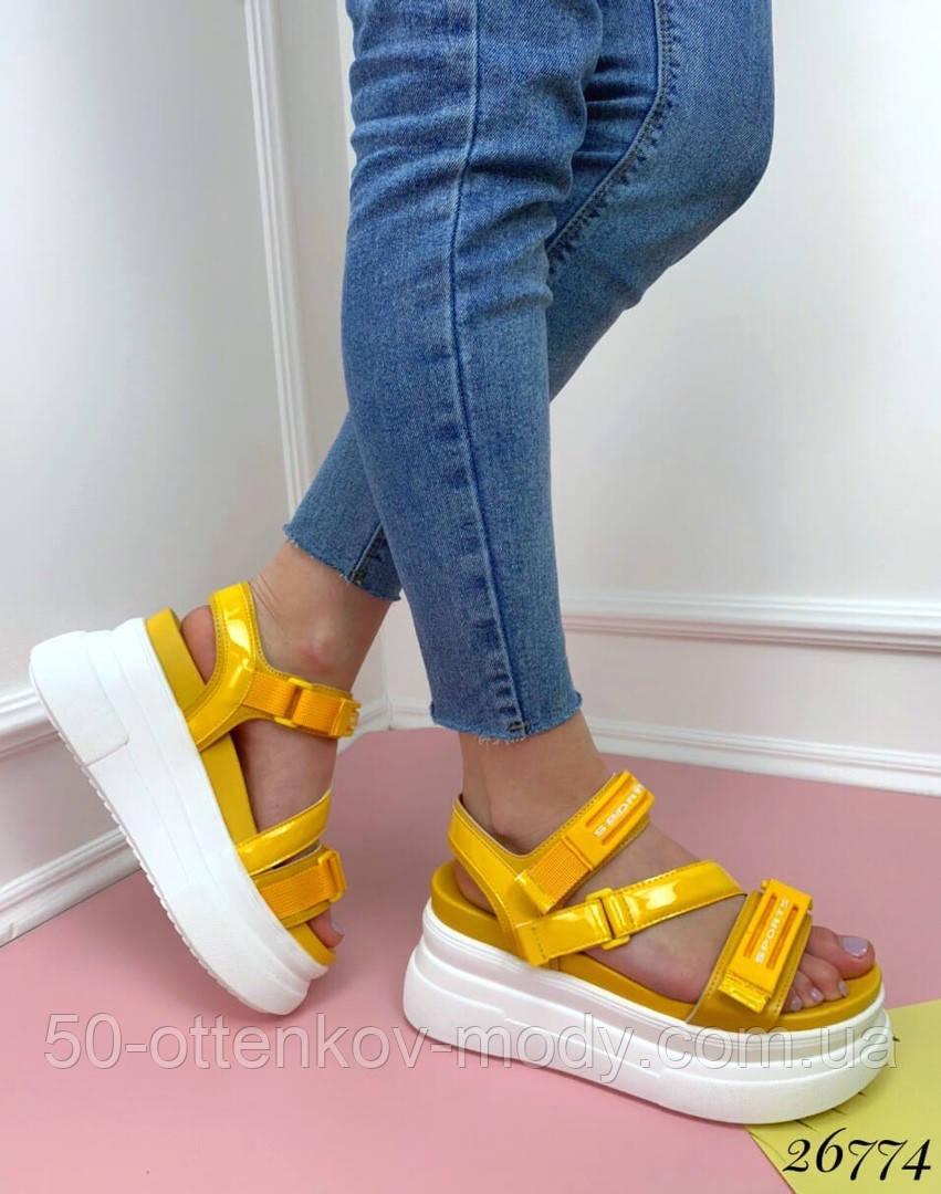 Женские босоножки Sport на липучках,платформа 8 см, белые, черные, красные, бежевые, желтые