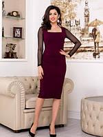 Платье миди, коктейльное платье-футляр с прозрачными рукавами марсала
