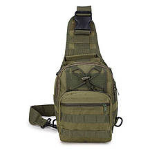 Тактическая сумка-рюкзак, барсетка на одной лямке, хаки. T-Bag 3