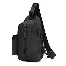 Тактическая сумка-рюкзак, барсетка, бананка на одной лямке, черная. T-Bag 446
