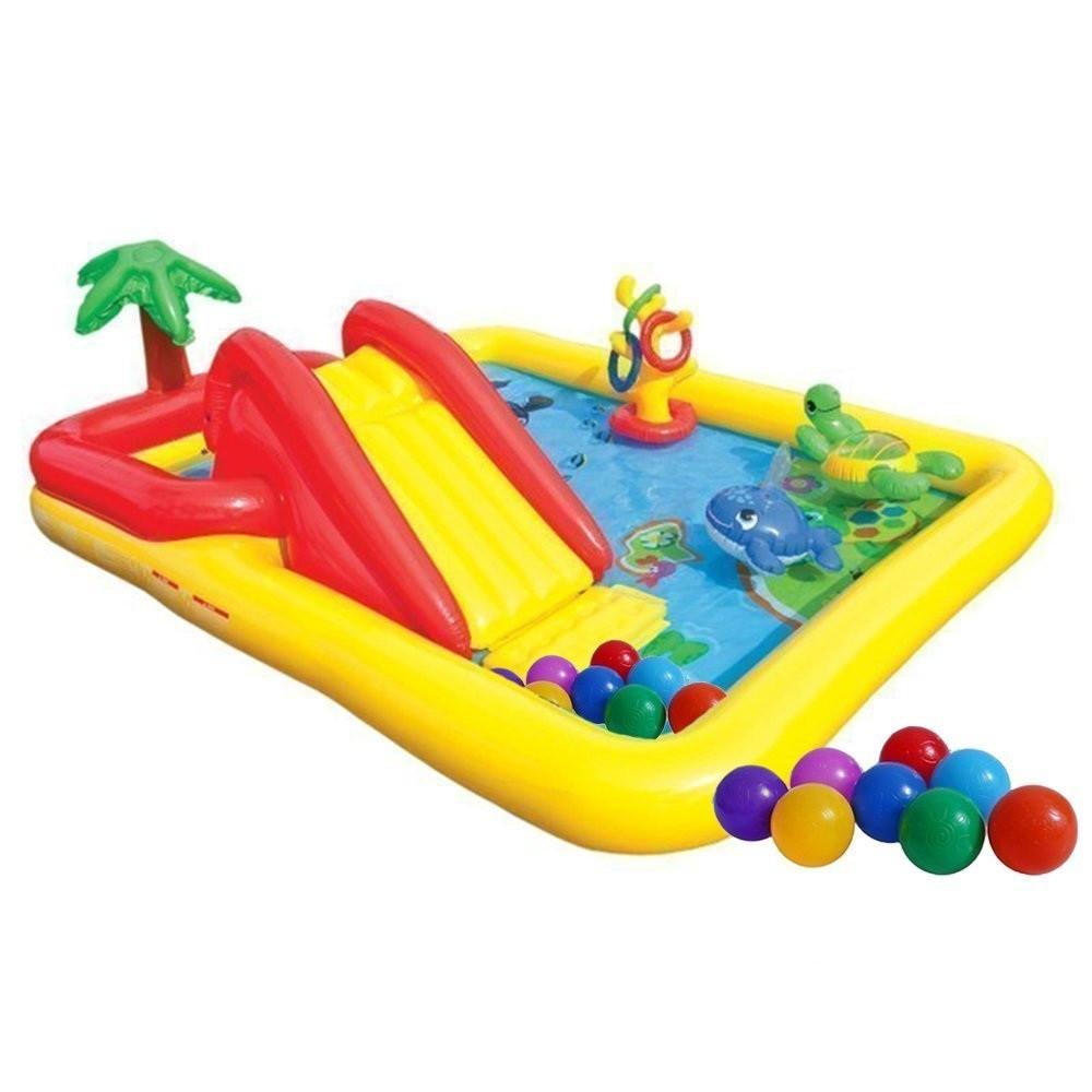 Надувной детский игровой центр бассейн Intex 57454 «Аквапарк» с надувными кольцами фонтаном игрушками и горкой
