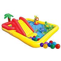 Надувной детский игровой центр бассейн Intex 57454 «Аквапарк» с надувными кольцами фонтаном игрушками и горкой, фото 1