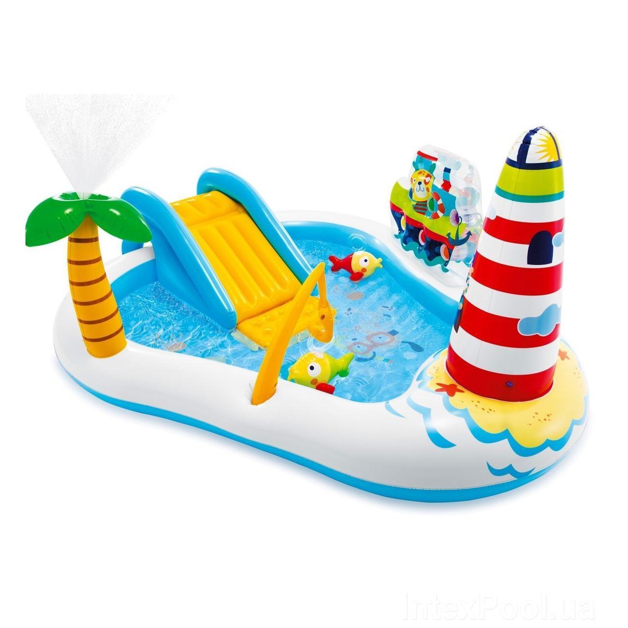 Детский надувной игровой центр бассейн Intex 57162 «Веселая Рыбалка» с горкой