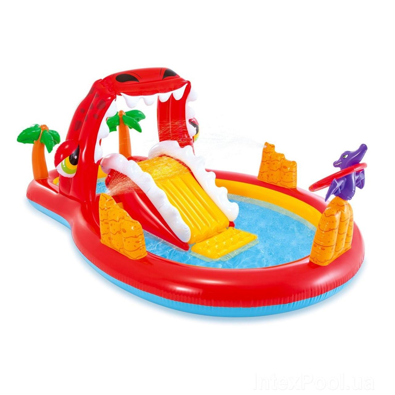 Надувной детский игровой центр бассейн Intex 57160 «Счастливий Дино» с горкой