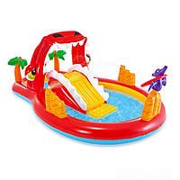 Надувной детский игровой центр бассейн Intex 57160 «Счастливий Дино» с горкой, фото 1
