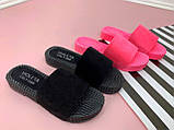 Женские пляжные шлепки PINK, розовые, черные, фото 2