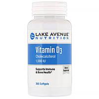 Витамин Д3 1000 МЕ 360 капс Lake Avenue Nutrition USA