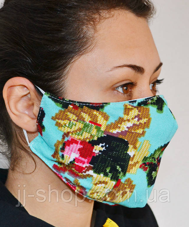 Защитная маска для лица трехслойная многоразовая тканевая