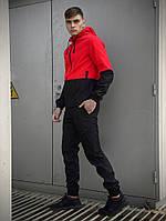 Костюм спортивный мужской демисезонный красно/черный, комплект штаны и куртка