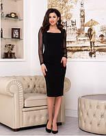 Платье миди, коктейльное платье-футляр с прозрачными рукавами черное