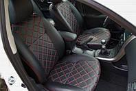 Авточехлы Mitsubishi Lancer X Экокожа+Перфорация 2+3 Черный двойной Ромб