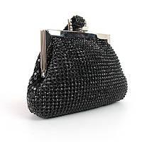 Клатч-кошелек вечерний женский Rose Heart 99126 черный со стразами из камней на цепочке, фото 1