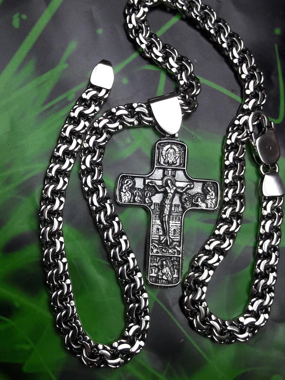 Серебряная цепочка и крест с молитвой Отче Наш
