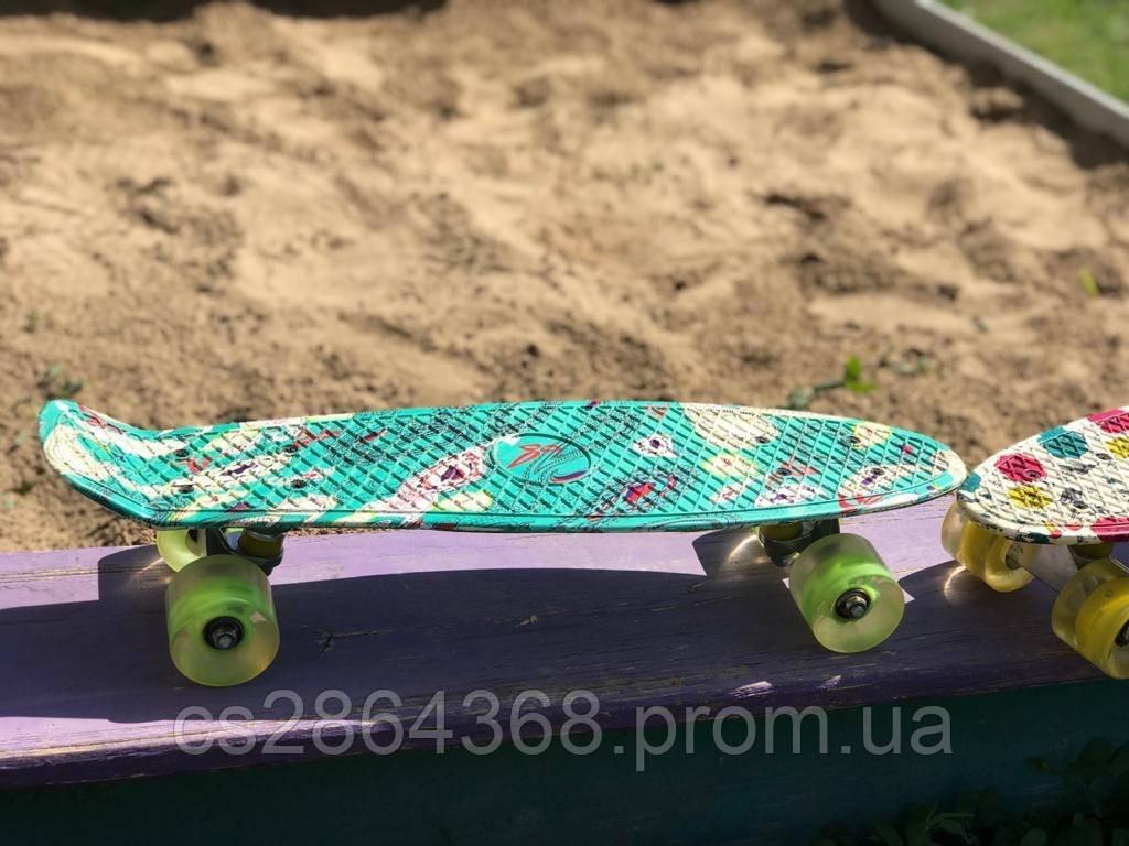 "Пенни Борд Penny Board 22"" Light Green со светящимися колесами"
