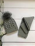 Зимний вязаный тёплый набор шапочка и шарф с натуральным меховым бубоном ручной работы для мальчика и девочки., фото 3