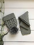 Зимний вязаный тёплый набор шапочка и шарф с натуральным меховым бубоном ручной работы для мальчика и девочки., фото 4
