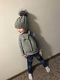 Зимний вязаный тёплый набор шапочка и шарф с натуральным меховым бубоном ручной работы для мальчика и девочки., фото 2