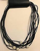 Ожерелье  бусы  многослойные    черного  цвета  с  бусинами шамбалами   на  магнитной   застежке