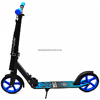 Самокат двухколесный wolf (волк) BEST SCOOTER синий, колеса PU - 200 мм (76537), фото 3