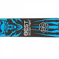 Самокат двухколесный wolf (волк) BEST SCOOTER синий, колеса PU - 200 мм (76537), фото 4