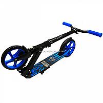 Самокат двухколесный wolf (волк) BEST SCOOTER синий, колеса PU - 200 мм (76537), фото 5