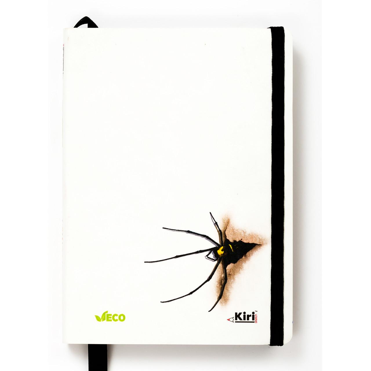 """Эко Записная книжка с черными листами А5 """"Паук"""", NanoKraft + белая ручка"""
