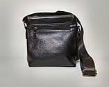 Мужская сумка через плечо Jeep Черная 21см х 19см Кожа PU 556 black Vsem, фото 2