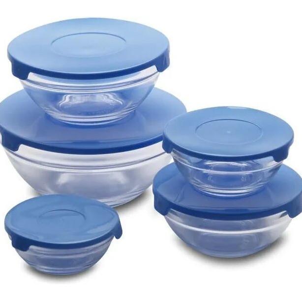 Набор стеклянных емкостей с крышками Cooking Bowl 5 шт. Голубой