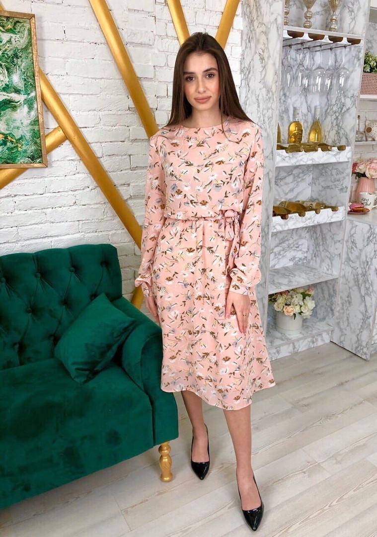 Платье летнее шифоновое в цветочный принт с легкой длинной юбкой,3цвета, Р-р.42-46 Код 7025К
