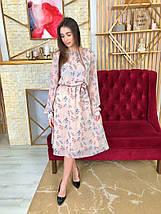 Платье летнее шифоновое в цветочный принт с легкой длинной юбкой,3цвета, Р-р.42-46 Код 7025К, фото 2