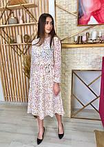 Платье летнее шифоновое в цветочный принт с легкой длинной юбкой,3цвета, Р-р.42-46 Код 7025К, фото 3