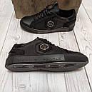 Кеды кожаные мужские черные Philipp Plein  PP-7  размер 40, 41, 42, 43, 44, 45, фото 3