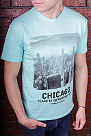 Футболка мужская голубая с принтом. Мужская футболка с коротким рукавом. Футболка летняя. Чоловіча футболка