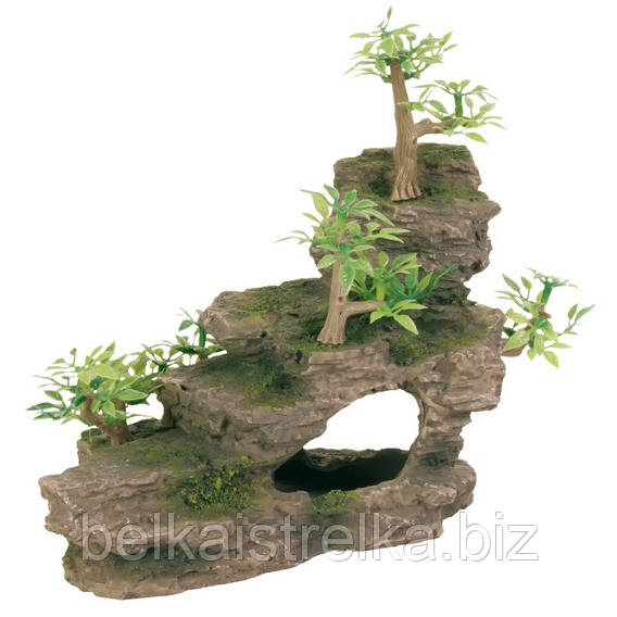 Декорация для аквариума Trixie Утес с растениями, 19 см.