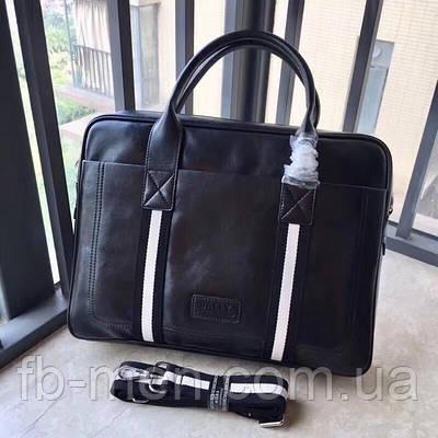 Сумка с передним карманом BALLY|Мессенджер мужской кожаный черный Балли