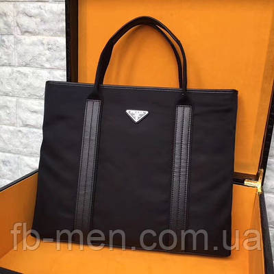 Сумка Prada | Текстильная черная сумка Прада женская с ручками