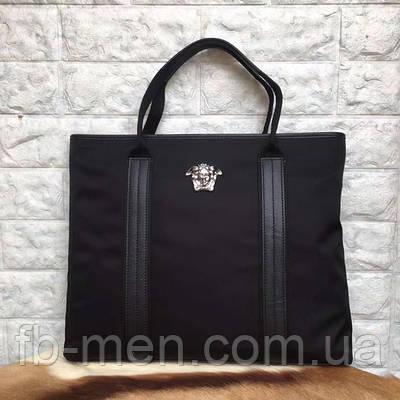 Сумка Versace | Женская сумка текстильная Версаче с логотипом и кожаными вставками