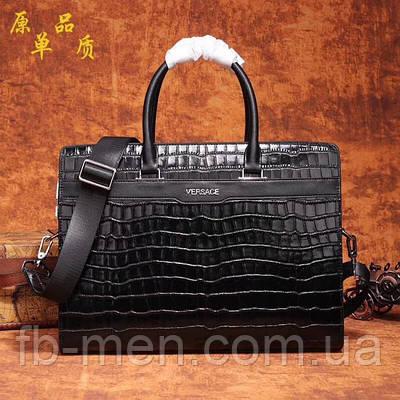 Сумка Versace черного цвета | Сумка Версаче кожа питона с плечевым ремнем