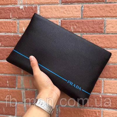 Черный клатч Prada| Кожаная папка Прада на молнии с логотипами| Борсетка кожаная Прада